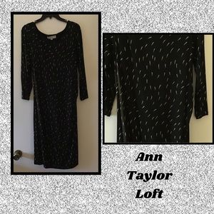 LOFT▪️Black White Sheath Midi Dress XL